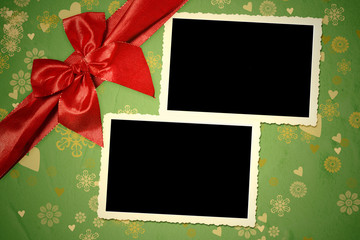 Christmas two vintage empty photo frames