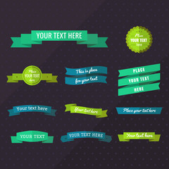 Flat ribbons vector set in blue, turquoise green and yellow green colors