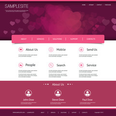 Website Design with Hearts in the Header