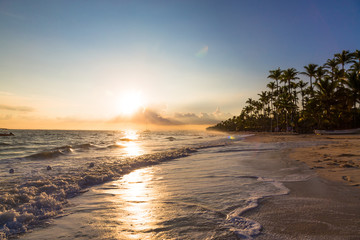 Sunrise over Atlantic ocean on Bavaro Beach, Dominican Republic