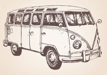 Hand drawn retro bus. Vector.