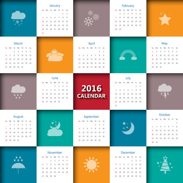 2016 calendar template with weather icon.Vector/illustration.
