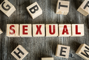 Wooden Blocks with the text: Sexual