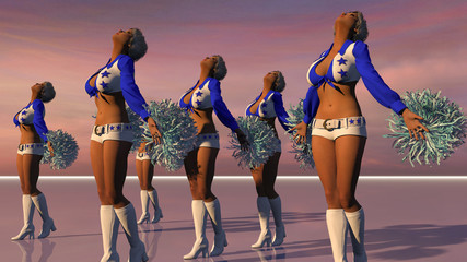 Cheerleaders On A Stage In Blue Starred Outfits