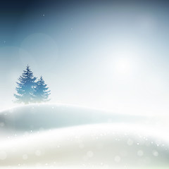 Frosty winter landscape, vector illustration
