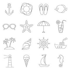 vector set of thin line flat sea, beach icons