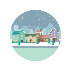 Vector flat illustration with Christmas, winter houses, vector card, city landscape.