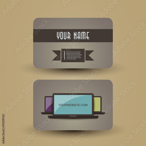Retro Business Card Template Stock Image And Royalty Free Vector