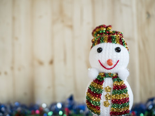 Merry Christmas Concept 3 - One Snowman on wood background (Merry Christmas Concept)