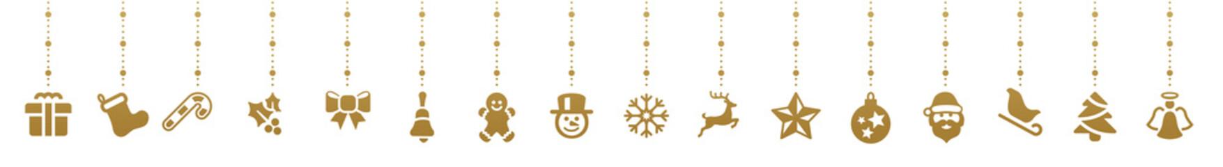 golden christmas elements