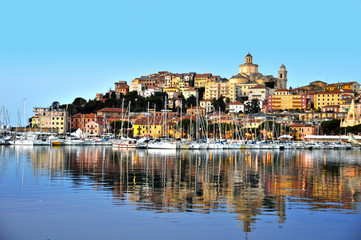City of Imperia, Liguria, Italy during sunrise
