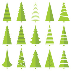 vector set with stylized Christmas tree icons