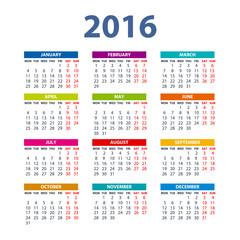 2016 Calendar - illustration vector color design