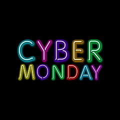 Vector cyber monday sale background. Vector illustration of embossed letters on color blurred background. text.
