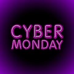 Vector cyber monday sale background. Vector illustration of embossed letters on pink blurred background. text.