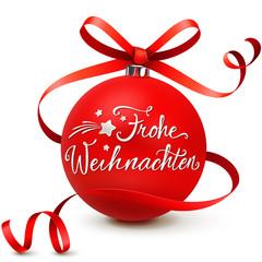 Christbaumkugel mit Schleifenband - Frohe Weihnachten