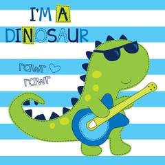 rock dinosaur with guitar vector illustration
