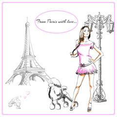 Paris France fashion postcard