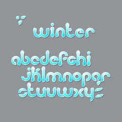 winter season, cartoon style alphabet letters. Christmas, snowy font type isolated on gray background. vector festive text design