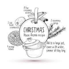 Smell like Christmas recipie sketch illustration