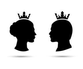 king and queen heads, king and queen face vector silhouette