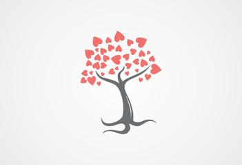 Tree love in leaf logo vector