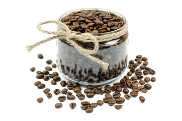 coffee grains jar with a bow