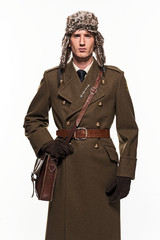 Russian military uniform fashion man against white background.