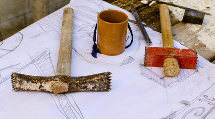 Hammers, chisels and sketch work for the sculptor