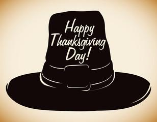 Thanksgiving Pilgrim Hat Silhouette, Vector Illustration