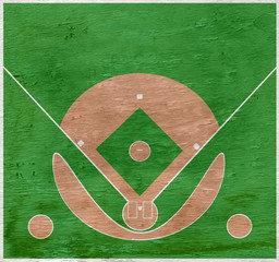baseball diamond design on wood grain texture