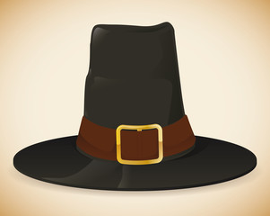 Colorful Pilgrim Hat Isolated, Vector Illustration