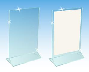 Glass transparent advertising desktop stand for paper sheet