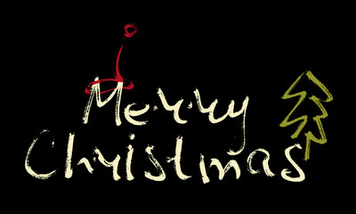 Hand written inscription Merry Christmas on black background with Christmas cap and tree. Design element for banner, card, invitation, label, t-shirt, postcard, poster. Scribble vector illustration.