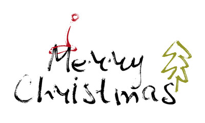 Hand written inscription Merry Christmas on white background with Christmas cap and tree. Design element for banner, card, invitation, label, t-shirt, postcard, poster. Scribble vector illustration.