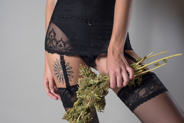 Sexy girl with cannabis