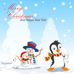 Penguin and snowman cartoon