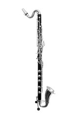 Fototapete - Bass Clarinet Isolated on white
