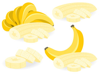 Sliced banana vector illustrations