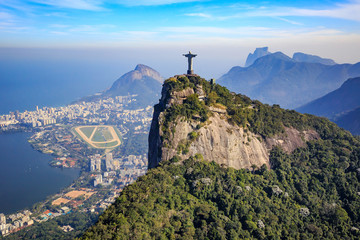 Wall Mural - Aerial view of Christ the Redeemer and Rio de Janeiro city