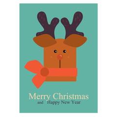 Greeting Christmas and New Year card with deer face