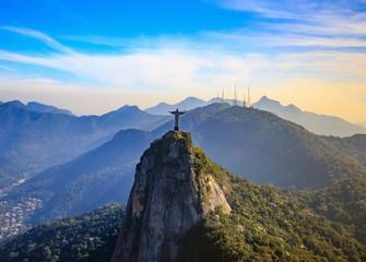 Aerial view of Christ the Redeemer and Rio de Janeiro city Wall mural