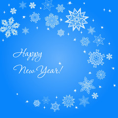 New Year light blue square background with snowflakes