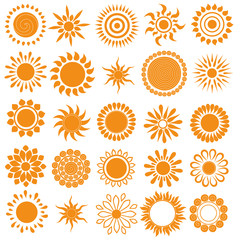 Vector set of different suns isolated