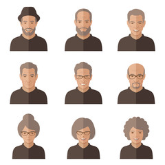 vector old people face. cartoon senior character. man, woman icon