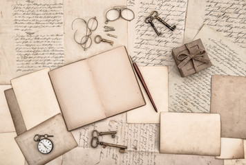 Old handwritten letters and antique writing accessories paper
