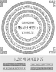 Vector set of four hand drawn four meander brushes with corner tiles. Seamless greek pattern for frames, borders and design elements. Vector isolated illustration. Brushes are included in eps.