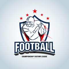 American football logo template, badge, t-shirt, label, emblem. Red, dark blue color version. Logotype Vector illustration.
