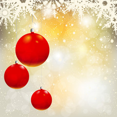 Christmas Decorations Balls on shiny background