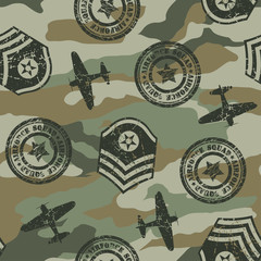Military badges seamless pattern